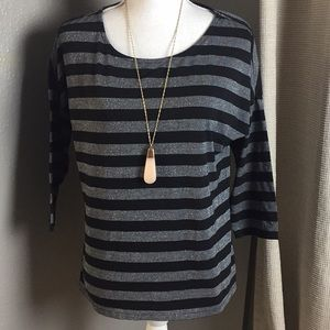 Attention black and silver stripe top